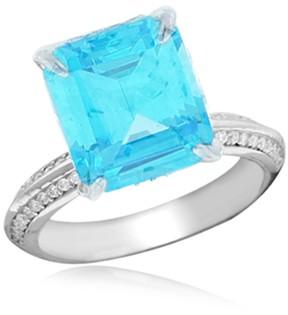 Crislu In Vogue Prong Set Asscher Cut Blue CZ Pave Ring
