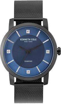 Kenneth Cole New York Men's Diamond-Accent Black Stainless Steel Mesh Bracelet Watch 43.5mm KC15105001