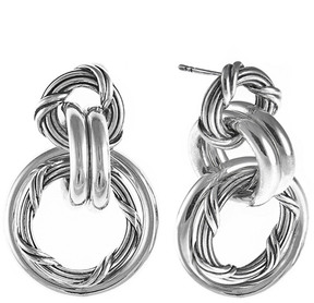 Peter Thomas Roth Signature Mixed Link Silver Drop Earrings