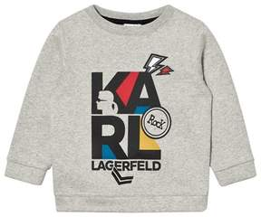 Karl Lagerfeld Grey Marl Print and Embroidered Sweatshirt
