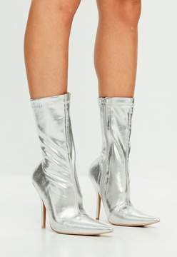 Missguided Silver Metallic Pointed Ankle Boots