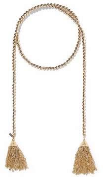 Kenneth Jay Lane Tasseled Beaded Gold-Tone Necklace