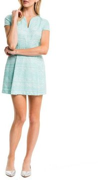 Cynthia Steffe Piper Short-Sleeve Box-Pleated Dress