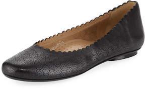 Neiman Marcus Selia Perforated Leather Ballerina Flat