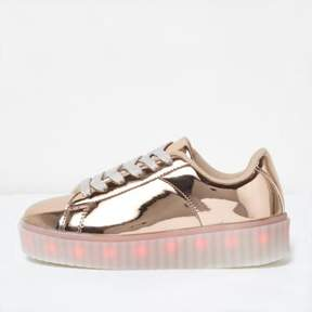 River Island Girls rose gold LED flashing sneaker