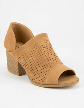 Qupid Peep Toe Perforated Womens Booties