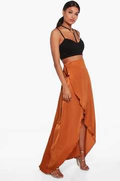 boohoo Aria Tie Waist Wrap Front Luxe Maxi Skirt