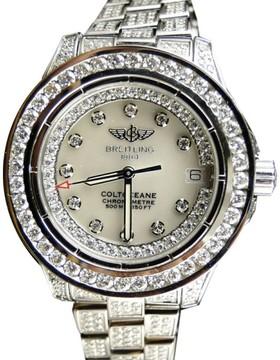 Breitling Aeromarine White Colt Ocean Full 15 Ct Diamond Ladies Watch