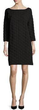 Joan Vass 3/4-Sleeve Textured Dot Dress