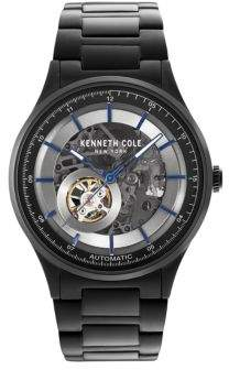Kenneth Cole Skeleton-Dial Stainless Steel Watch