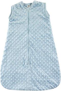 Hudson Baby Light Blue Dotted Plush Sleeping Bag - Newborn & Infant