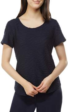 Allison Daley Scoop Neck Solid Textured Knit Tee