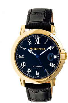 Heritor Automatic Laudrup Mens Leather Magnified Date-Gold Tone/Black Watch