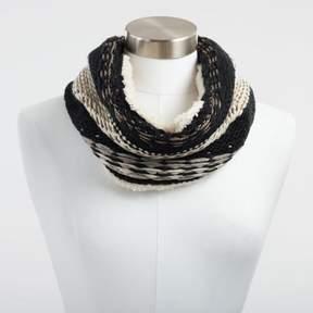 World Market Black and Metallic Gold Knit Snood Scarf