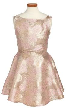 Un Deux Trois Girl's Floral Jacquard Skater Dress