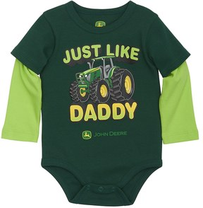 John Deere Baby Boy Just Like Daddy Tractor Mock-Layer Bodysuit