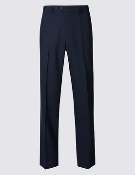 Marks and Spencer Regular Wool Blend Flat Front Trousers
