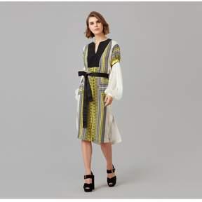 Amanda Wakeley   Printed Crepe De Chine Tunic Dress   L   Yellow