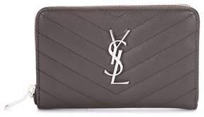 Saint Laurent Monogram Zip Around leather wallet - GREY - STYLE