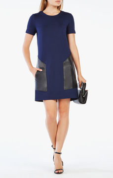 BCBGMAXAZRIA Chrissie Pleather-Blocked Dress