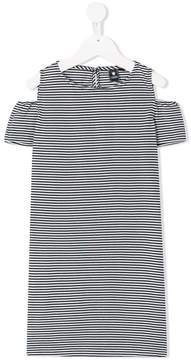 European Culture Kids striped cold-shoulder dress