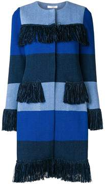 Charlott striped frayed coat