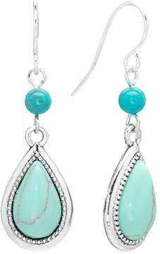 Chaps Silver Tone Bead Teardrop Earrings