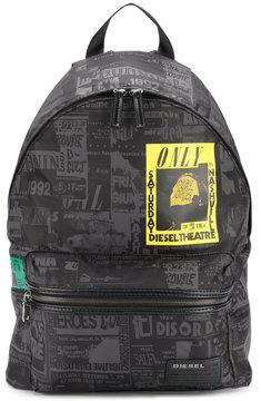 Diesel retro print backpack