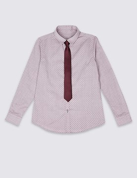 Marks and Spencer Spotted Shirt with Tie (3-14 Years)