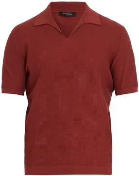 Ermenegildo Zegna Open-collar waffle-knit cotton polo shirt