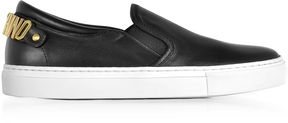 Moschino Black Nappa Leather Slip On Sneakers w/Golden Signature