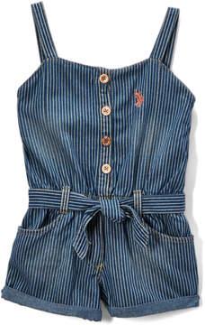U.S. Polo Assn. Denim & White Stripe Sweetheart Romper - Infant, Toddler & Girls