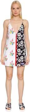 Au Jour Le Jour Floral Print Zip-Up Neoprene Dress