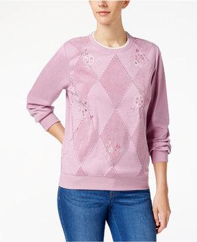 Alfred Dunner Winter Garden Embroidered Sweatshirt