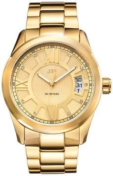 JBW Men's Men's Round Bond 18K Yellow Gold-Plated Watch, 44mm