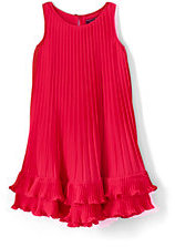 Lands' End Little Girls Pleated Trapeze Dress-Crimson Dawn