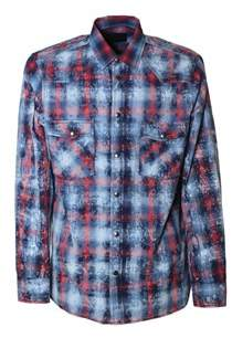 Diesel Black Gold Men's Blue/red Cotton Shirt.