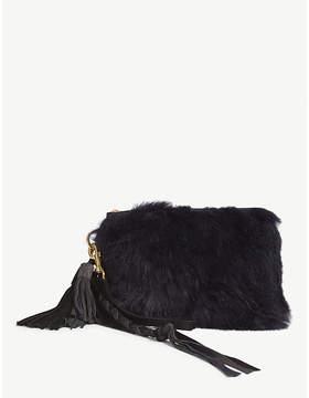 Sacai Navy Blue Faux Fur Clutch Bag