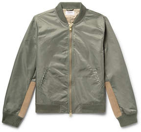 Frame Flight Suede-Panelled Shell Bomber Jacket