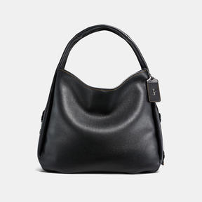 COACH BANDIT HOBO 39 IN NATURAL PEBBLE LEATHER WITH TOOLED TEA ROSE - BLACK COPPER/BLACK