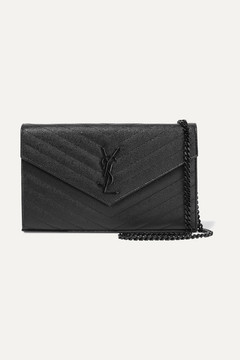 Saint Laurent Monogramme Mini Quilted Textured-leather Shoulder Bag - Black - BLACK - STYLE