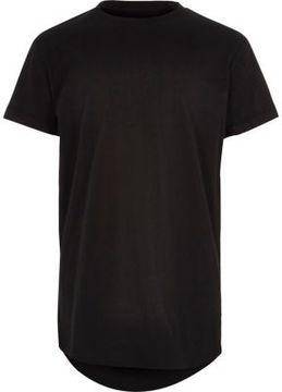 River Island Boys black 'Bronx' print curved hem T-shirt