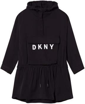 DKNY Black Branded Jersey Hooded Dress