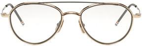 Thom Browne Gold Aviator Glasses