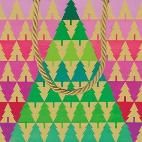 Caspari Zigzag Trees Small Gift Bag