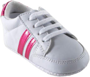 Luvable Friends White & Pink Stripe Sneaker - Girls