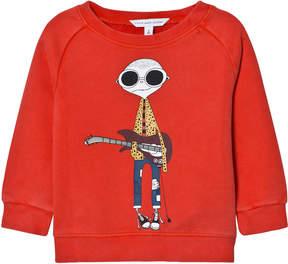 Little Marc Jacobs Red Mr Marc Guitar Print Sweatshirt