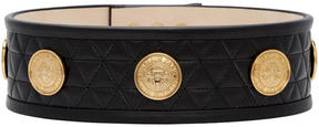 Balmain Black Quilted Gold Coins Belt
