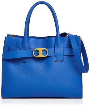Tory Burch Gemini Link Leather Tote - BLACK/GOLD - STYLE