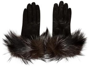 Saks Fifth Avenue Fur-Trimmed Leather Gloves